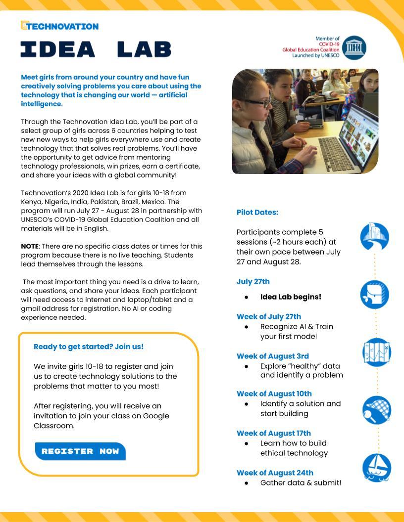 Student Flyer – Technovation Idea Lab_ UNESCO Pilot 2020